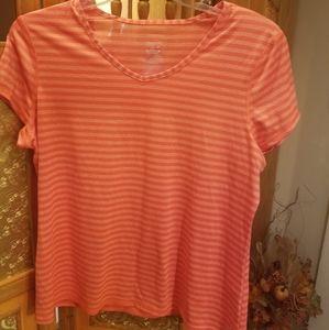 Orange striped pullover shirt